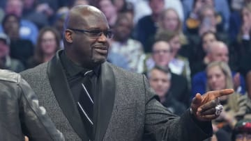 Shaquille O'Neal in attendance during the first quarter of the 2020 NBA All Star Game at United Center in Chicago, Illinois on Freburary 16th, 2020.
