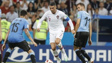 Portugal player Cristiano Ronaldo (7) controls the ball against Uruguay on June 30, 2018.