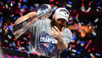 Julian Edelman hoisting his third Lombardi Trophy after winning Super Bowl LIII with the New England Patriots on February 3rd, 2019.