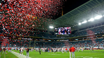 Confetti falls onto the field after Alabama defeated Ohio State in the 2021 College Football Playoff National Championship Game on Jan. 11, 2021.