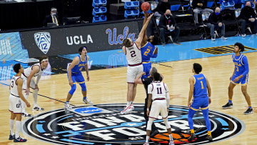 Gonzaga forward Drew Timme goes up for the opening tip in a Final Four matchup with the UCLA Bruins in Indianapolis, Indiana on April 3, 2021.