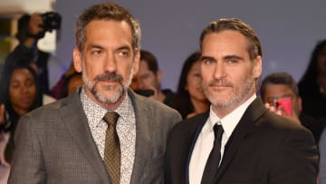 """TORONTO, ONTARIO - SEPTEMBER 09: (L-R) Todd Phillips and Joaquin Phoenix attend the """"Joker"""" premiere during the 2019 Toronto International Film Festival at Roy Thomson Hall on September 09, 2019 in Toronto, Canada. (Photo by Amy Sussman/Getty Images)"""