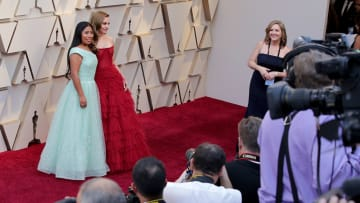 HOLLYWOOD, CA - FEBRUARY 24:   (EDITORS NOTE: Retransmission with alternate crop.) Yalitza Aparicio(L) and Marina De Tavira attends the 91st Annual Academy Awards at Hollywood and Highland on February 24, 2019 in Hollywood, California.  (Photo by Neilson Barnard/Getty Images)