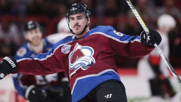 STOCKHOLM, SWEDEN - NOVEMBER 10: Nail Yakupov #64 of Colorado Avalanche celebrates after scoring to 1-0 during the 2017 SAP NHL Global Series match between Ottawa Senators and Colorado Avalanche at Ericsson Globe on November 10, 2017 in Stockholm, Sweden. (Photo by Nils Petter Nilsson/Ombrello/Getty Images)
