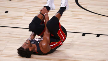Jimmy Butler after hurting his ankle