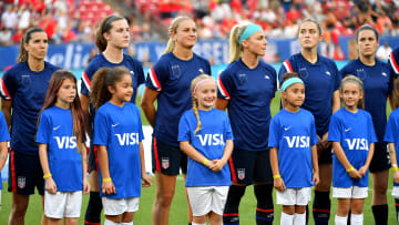 Members of the USWNT during a protest for equal pay