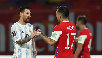 Messi and Medel after Argentina vs Chile in the FIFA World Cup 2022 Qatar Qualifier