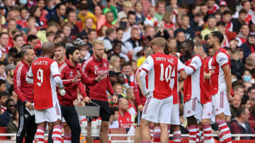 Mikel Arteta gives orders to his players in a pre-season friendly against Chelsea