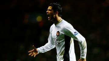 Cristiano Ronaldo en un encuentro con el Manchester United