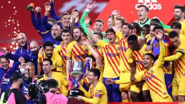 La joie des joueurs du Barça après ce succès en finale de Coupe du Roi.