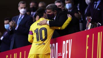 Lionel Messi and Joan Laporta