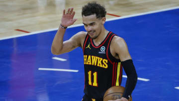Trae Young celebrated the Hawks' Game 7 win.