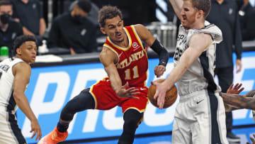Trae Young, Keldon Johnson - Atlanta Hawks v San Antonio Spurs
