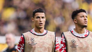 Cristiano Ronaldo et Jadon Sancho à l'entraînement avec Manchester United cette saison