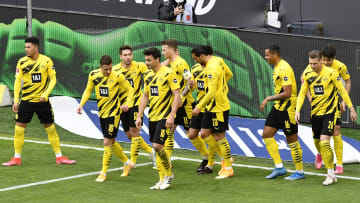 Dortmund celebrate Marco Reus' early goal