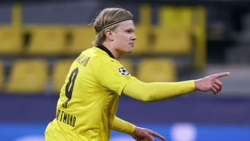 Erling Haaland hit the 20th goal of his Champions League career against Sevilla
