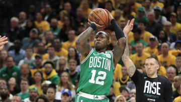 INDIANAPOLIS, INDIANA - APRIL 19: Terry Rozier III #12 of the Boston Celtics shoots the ball against the Indiana Pacers in game three of the first round of the 2019 NBA Playoffs at Bankers Life Fieldhouse on April 19, 2019 in Indianapolis, Indiana.  NOTE TO USER:  User expressly acknowledges and agrees that , by downloading and or using this photograph, User is consenting to the terms and conditions of the Getty Images License Agreement. (Photo by Andy Lyons/Getty Images)