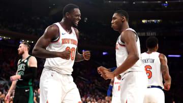 Julius Randle and RJ Barrett play for the New York Knicks against the Boston Celtics
