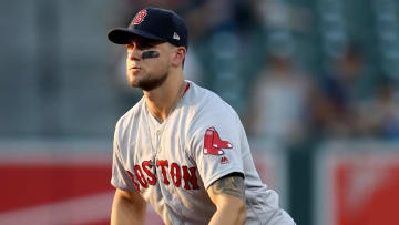 BALTIMORE, MARYLAND - JULY 19: Michael Chavis #23 of the Boston Red Sox follows the ball against the Baltimore Orioles at Oriole Park at Camden Yards on July 19, 2019 in Baltimore, Maryland. (Photo by Rob Carr/Getty Images)