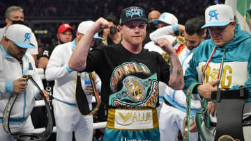 Canelo Alvarez can become the first ever undisputed super middleweight champion when he takes on Caleb Plant in November. | Jerome Miron-USA TODAY Sports