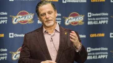 CLEVELAND, OH - OCTOBER 30: Team owner Dan Gilbert of the Cleveland Cavaliers talks to the media prior to the game against the Brooklyn Nets at Quicken Loans Arena on October 30, 2013 in Cleveland, Ohio. NOTE TO USER: User expressly acknowledges and agrees that, by downloading and/or using this photograph, user is consenting to the terms and conditions of the Getty Images License Agreement. (Photo by Jason Miller/Getty Images)