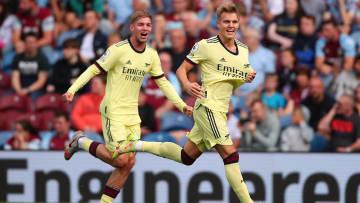 Odegaard celebrates his first half free-kick