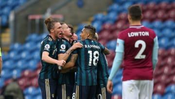The Leeds team celebrate Mateusz Klich's first-half strike