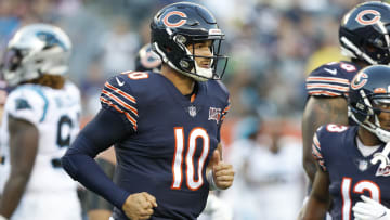 CHICAGO, ILLINOIS - AUGUST 08: Mitchell Trubisky #10 of the Chicago Bears heads back to his team's bench bench after taking a few snaps during the first quarter of a preseason game against the Carolina Panthers at Soldier Field on August 08, 2019 in Chicago, Illinois. (Photo by Nuccio DiNuzzo/Getty Images)