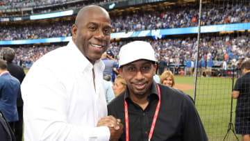 Magic Johnson and Stephen A. Smith