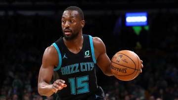BOSTON, MASSACHUSETTS - JANUARY 30: Kemba Walker #15 of the Charlotte Hornets dribbles against the Boston Celtics  during the first half at TD Garden on January 30, 2019 in Boston, Massachusetts. NOTE TO USER: User expressly acknowledges and agrees that, by downloading and or using this photograph, User is consenting to the terms and conditions of the Getty Images License Agreement. (Photo by Maddie Meyer/Getty Images)