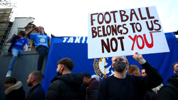 Chelsea fans protested against the ESL on Tuesday night