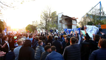 Chelsea fans gathered outside of Stamford Bridge on Tuesday