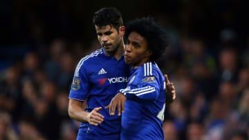 Diego Costa e Willian, ex-companheiros de Chelsea, agora são rivais