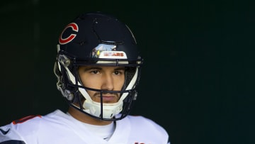 PHILADELPHIA, PA - NOVEMBER 03: Mitchell Trubisky #10 of the Chicago Bears looks on prior to the game against the Philadelphia Eagles at Lincoln Financial Field on November 3, 2019 in Philadelphia, Pennsylvania. (Photo by Mitchell Leff/Getty Images)