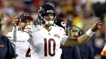 LANDOVER, MARYLAND - SEPTEMBER 23:  Mitchell Trubisky #10 of the Chicago Bears celebrates after the ruling is overturned and called a touchdown during the second quarter against the Washington Redskins in the game at FedExField on September 23, 2019 in Landover, Maryland. (Photo by Rob Carr/Getty Images)