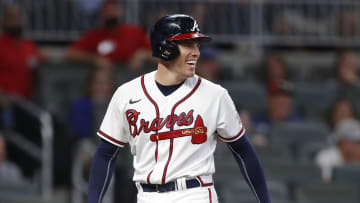 Freddie Freeman reacts to Anthony Rizzo striking him out.