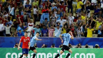 Chile v Uruguay: Group C - Copa America Brazil 2019 - Cavani and Suárez celebrate the goal.