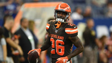 INDIANAPOLIS, INDIANA - AUGUST 17:  Greedy Williams #26 of the Cleveland Brown participates in warmups prior to a game against the Indianapolis Colts at Lucas Oil Stadium on August 17, 2019 in Indianapolis, Indiana. (Photo by Stacy Revere/Getty Images)