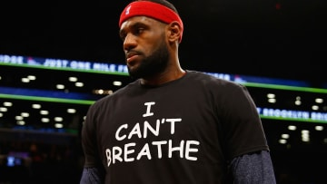 "LeBron James wears an ""I can't breathe"" t-shirt in solidarity with Black Lives Matters protestors before a game on the Cleveland Cavaliers"