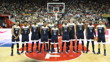 SHANGHAI, CHINA - SEPTEMBER 01:  Team of USA  pose for a group during the 1st round Group E march between USA and Czech Republic of 2019 FIBA World Cup at the Oriental Sports Center on September 1, 2019 in Shanghai, China.  (Photo by Lintao Zhang/Getty Images)