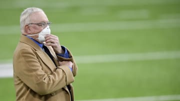 Jerry Jones on the field before a game this season.