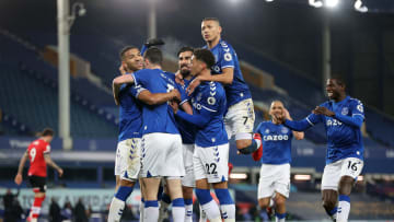 Everton celebrate their opener
