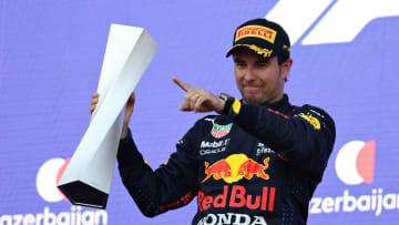"""""""Checo"""" Pérez celebró por todo lo alto su victoria en el GP de Azerbaiyán"""