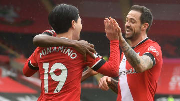 The Southampton side celebrate taking the lead