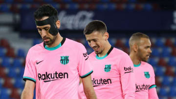 Barcelona's players look dejected