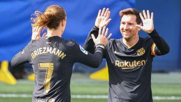 La joie de Griezmann et Messi après le succès à Villarreal.