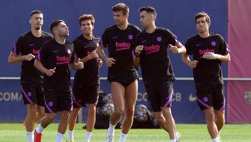 L'effectif du FC Barcelone à l'entraînement avant la réception du Bayern Munich ce mardi