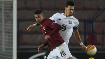 Hlozek (left) in action for Sparta Prague against Lille in the Europa League
