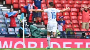 Patrik Schick celebrates and iconic European Championship goal