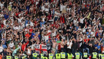 England supporters celebrate at Wembley
